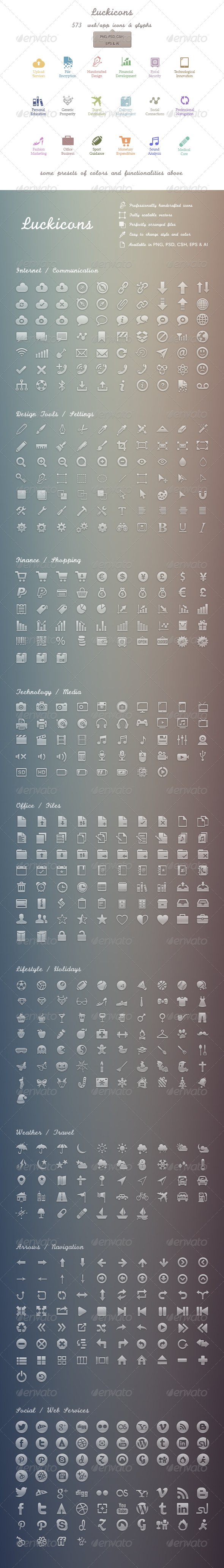 GraphicRiver Luckicons 579 handgrafted vectors icons PSD.. 3355500