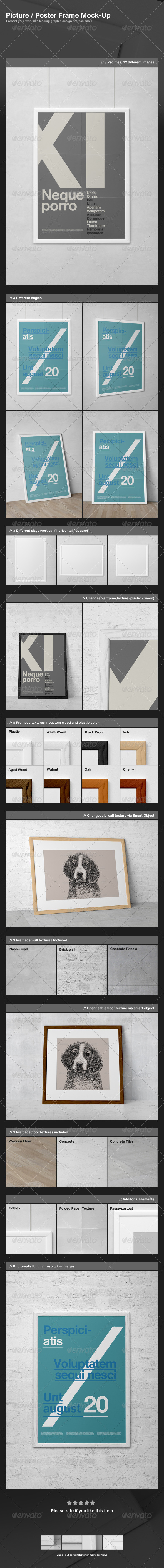 GraphicRiver Picture Poster Frame Mock-Up 3377833