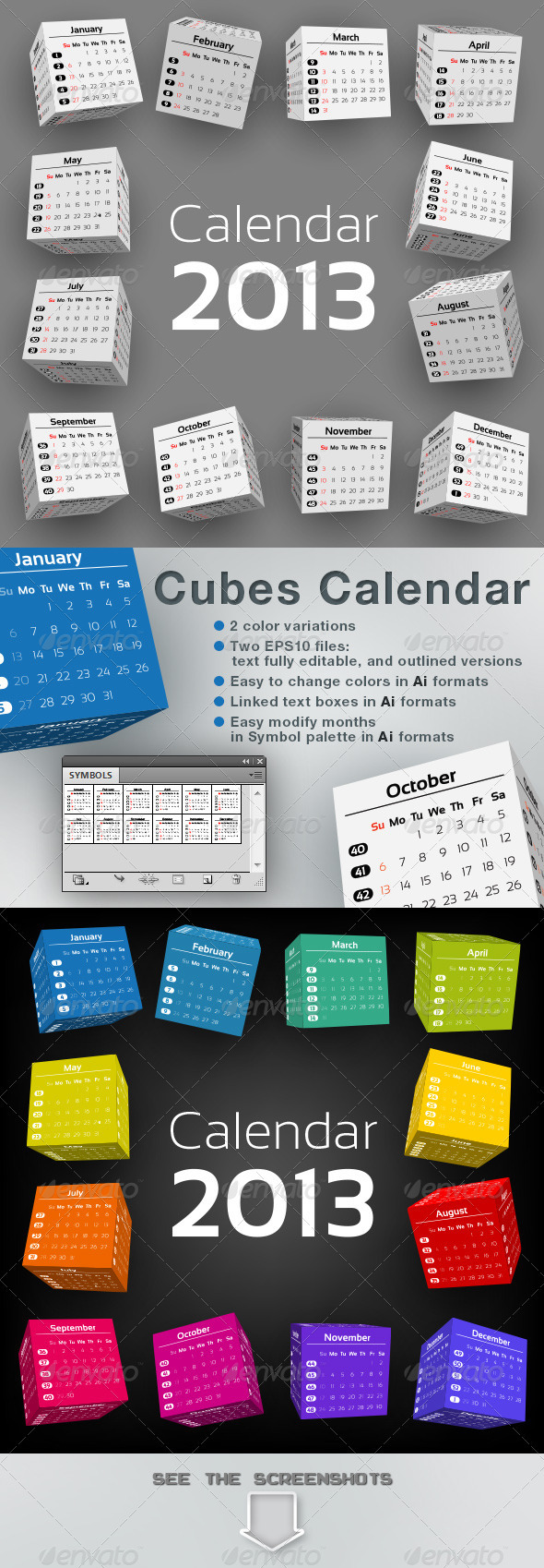 GraphicRiver 3D-Cubes Calendar 2013 3377651