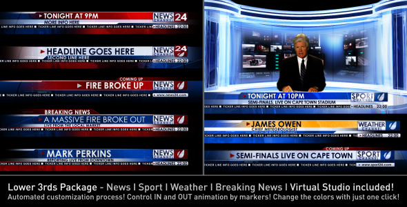 After Effects Project - VideoHive Broadcast Design News Lower Third Package ...
