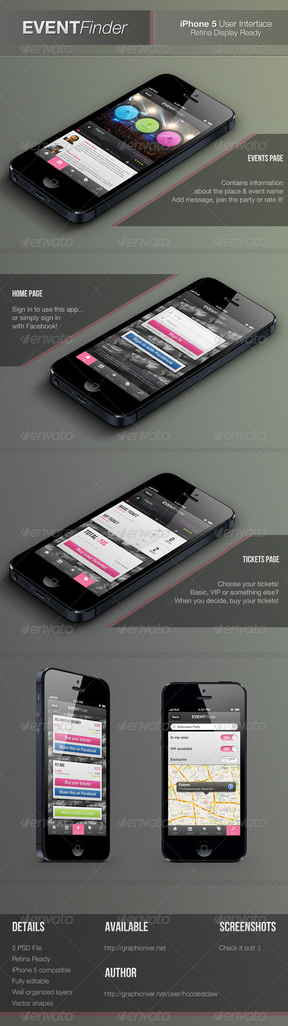 GraphicRiver Event Finder Retina Mobile Interface 3353274