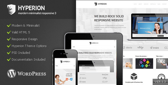 ThemeForest Hyperion Modern Minimalist Wordpress Theme WordPress Corporate 3282316