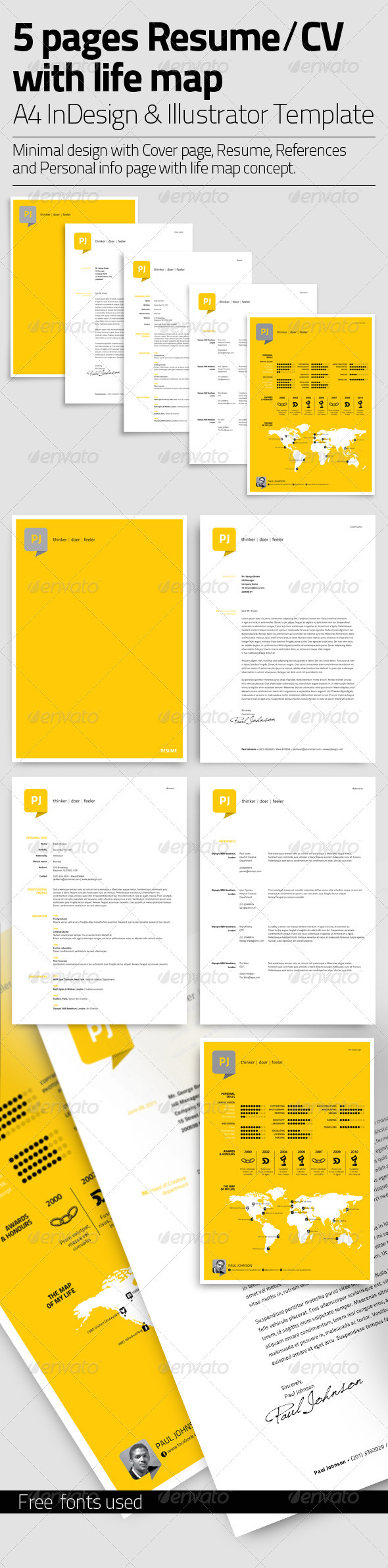 GraphicRiver Resume Template 5 Pages with Life Map 3422353