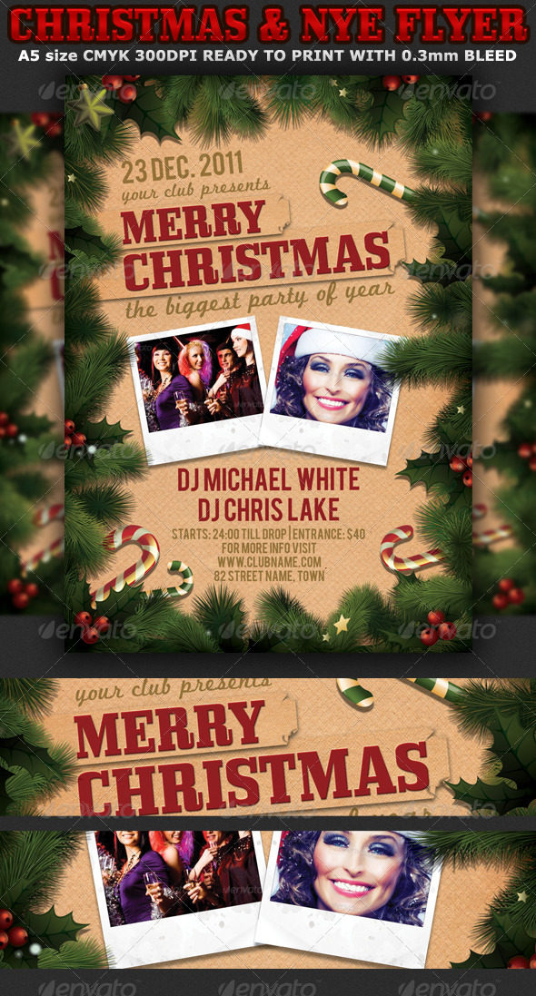 GraphicRiver Christmas or New Years Party Flyer Template 3423394
