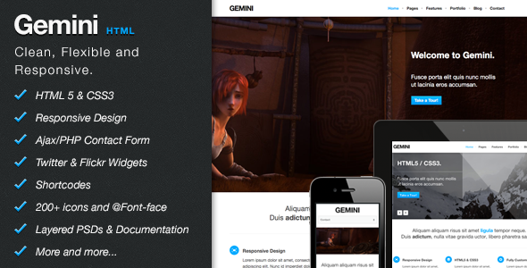 ThemeForest Gemini Clean Responsive Theme Site Templates Creative 3432429
