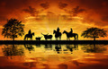 Silhouette cowboys with horses - PhotoDune Item for Sale