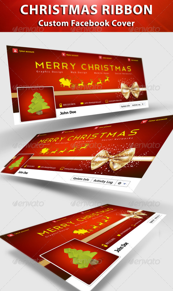 GraphicRiver Christmas Ribbon FB Cover 3419389