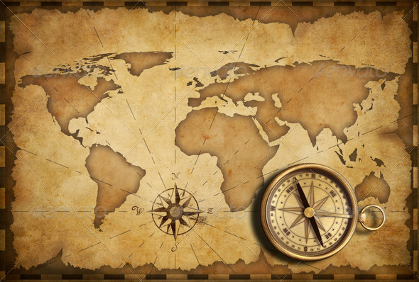 aged brass antique nautical pocket compass with old map stock photo by akz. Black Bedroom Furniture Sets. Home Design Ideas