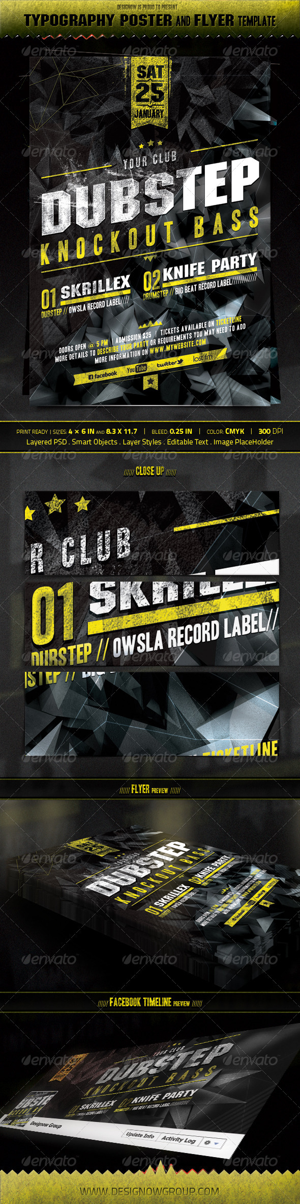 GraphicRiver Music Knockout Bass Flyer and Poster Template 3458585