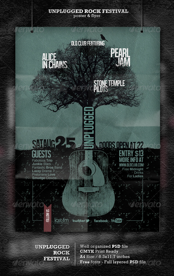 GraphicRiver Unplugged Rock Festival Poster Template 2822580