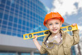 Adorable Child Boy Dressed Up as a Handyman in Front of Corporate Building. - PhotoDune Item for Sale