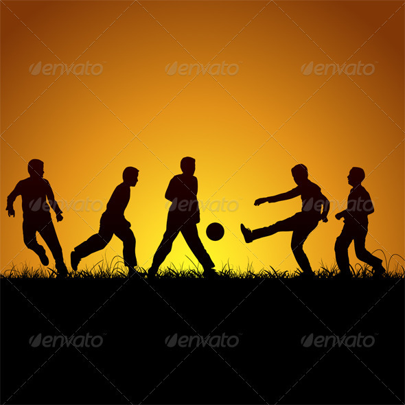 GraphicRiver Five Boys Silhouette And Football 3486506