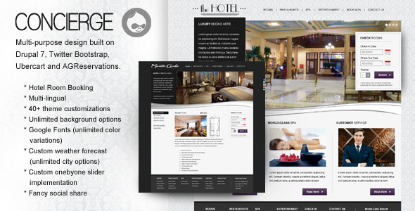 ThemeForest Concierge Premium D7 Multipurpose Hotel Theme CMS Themes Drupal Miscellaneous 3489782