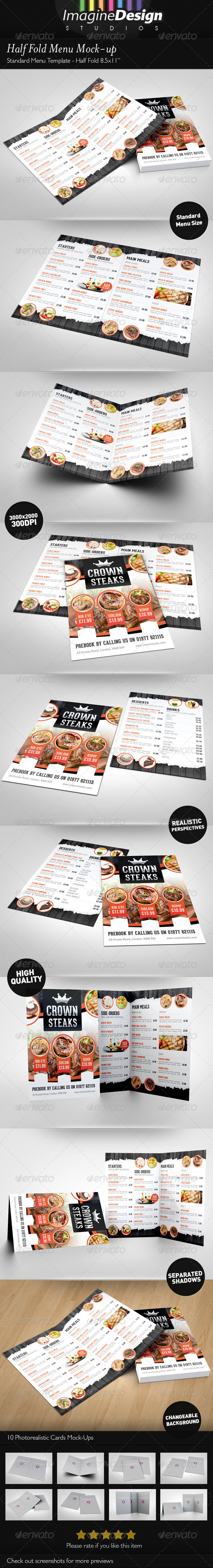 GraphicRiver Half Fold Menu Mock-up 3497213