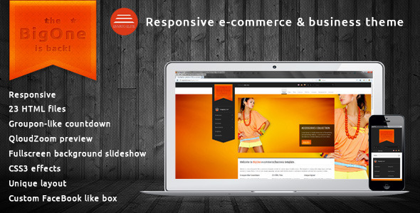 ThemeForest BigOne Responsive E-commerce & business template Site Templates Retail 3507039