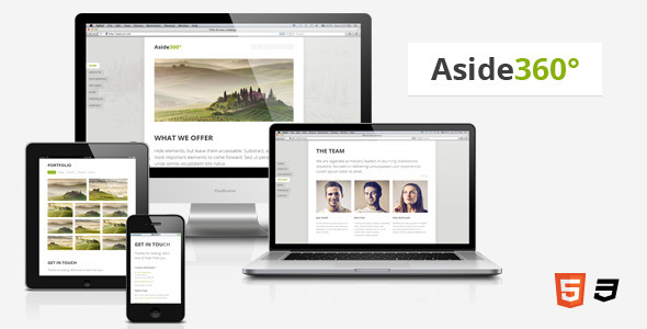 ThemeForest Aside360Ўг ЁC Responsive HTML5 One-Page Theme Site Templates Creative 3471763