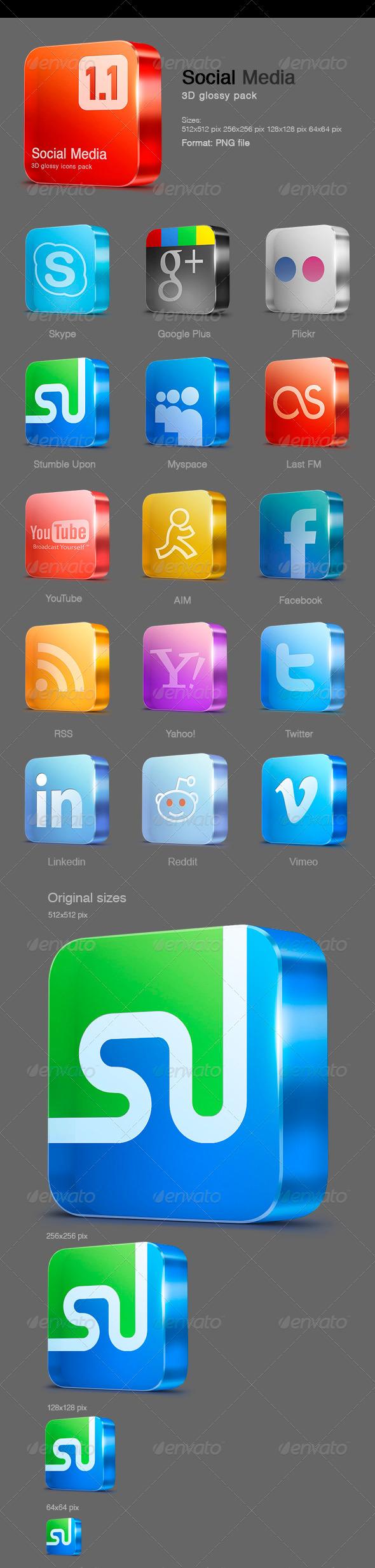 GraphicRiver 15 Glossy Social Media icons v 1.1 525144
