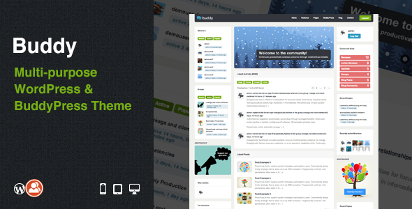 ThemeForest Buddy Multi-purpose WordPress & BuddyPress Theme WordPress BuddyPress 3506362
