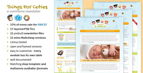 ThemeForest Things for Cuties Baby Kids Newsletter Template Marketing Email Templates Newsletters 3496550