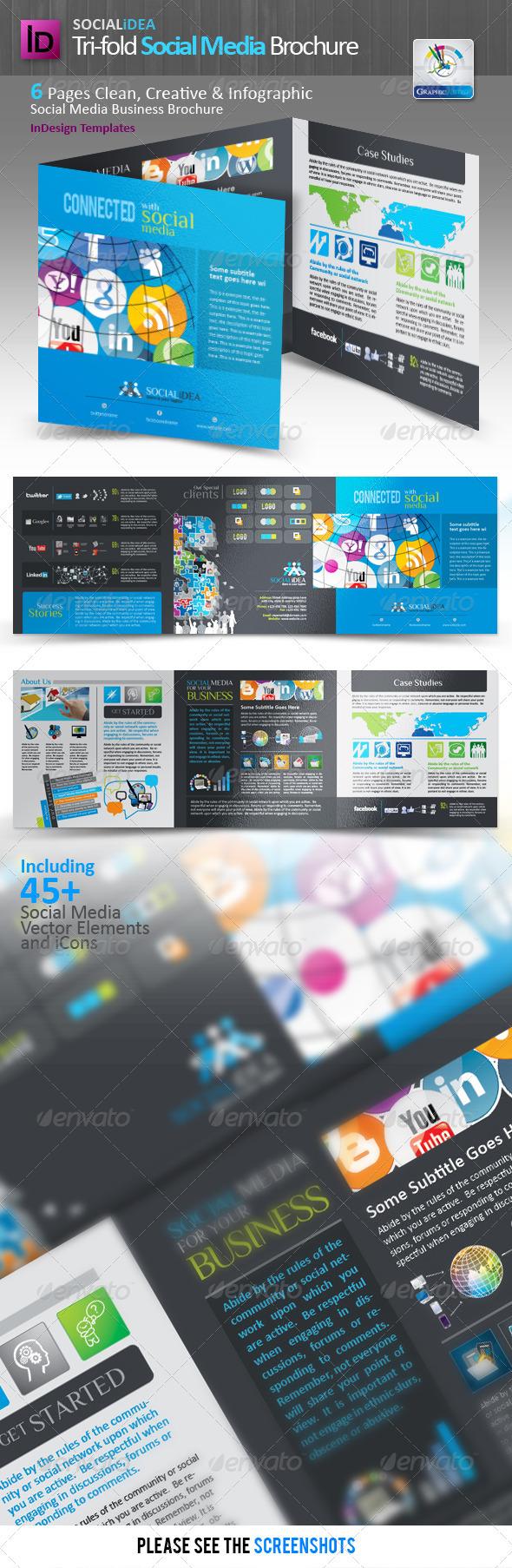 GraphicRiver Socialidea Tri-fold Social Media Brochure 3528384