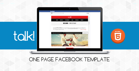 ThemeForest Talk! Facebook OnePage Template Site Templates Creative 3516479