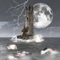 Dark Seascape with a Mysterious Tower  - PhotoDune Item for Sale