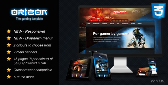 Orizon the gaming template html version by skywarrior for Convert html template to wordpress theme online