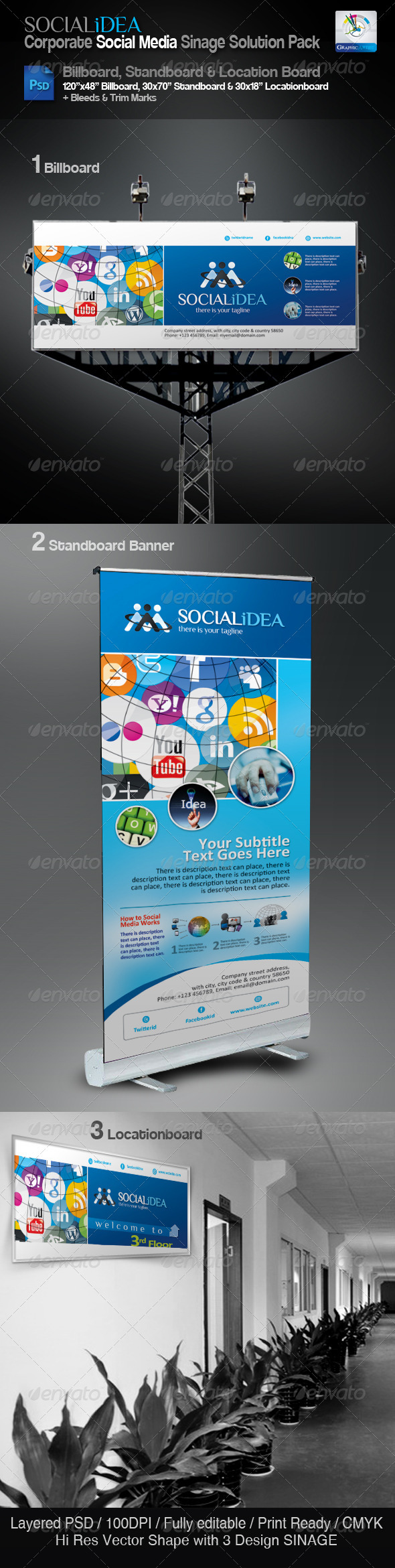 GraphicRiver Socialidea Corporate Sinage Solution Pack 3550291