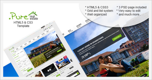 Site Templates – .Pure Real Estate HTML5 & CSS3 Template | ThemeForest