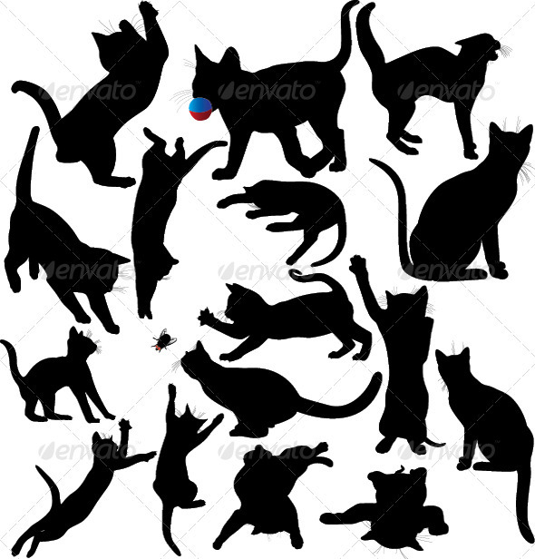 GraphicRiver Cat and Kitten Silhouette Set 3553664