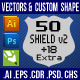 50 Shield v2 Custom Shapes - GraphicRiver Item for Sale