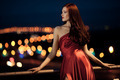 Young Beauty Famous Woman In Red Dress Outdoor - PhotoDune Item for Sale