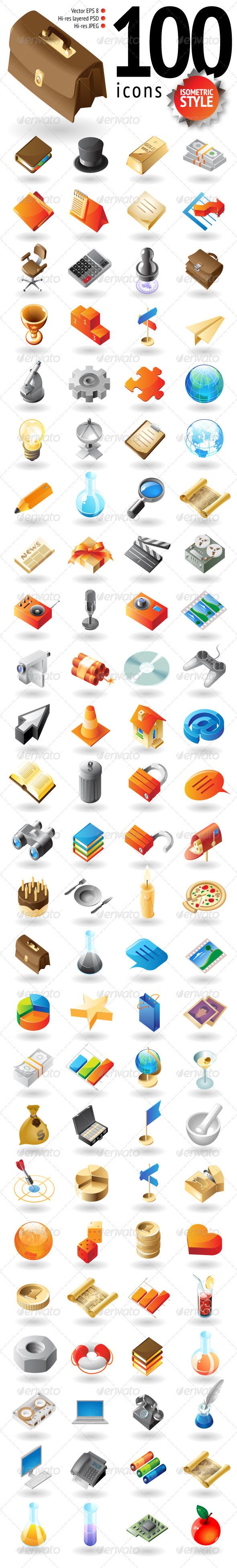 GraphicRiver 100 Isometric-Style Icons 3567173
