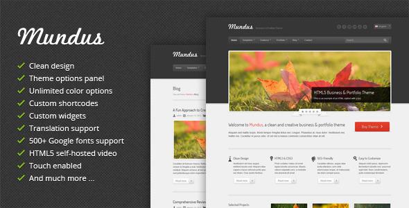 ThemeForest Mundus Business and Portfolio WordPress Theme WordPress Creative 3567333
