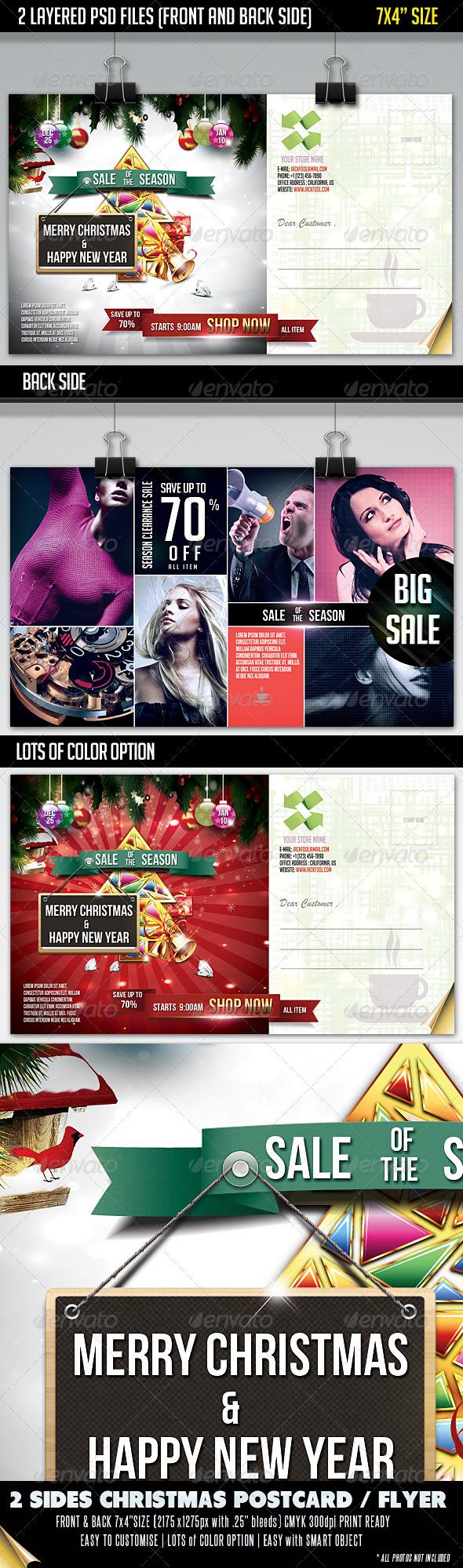 GraphicRiver Christmas Sale Postcard-Front & Back 3375504