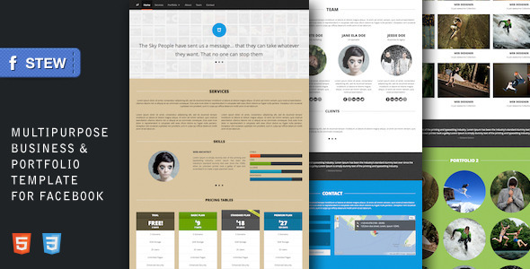 ThemeForest Stew Multipurpose Facebook Template for Creatives Site Templates Creative Portfolio 3571496