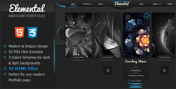 ThemeForest Elemental Uniquely Designed HTML Template  Site Templates Creative 3571820