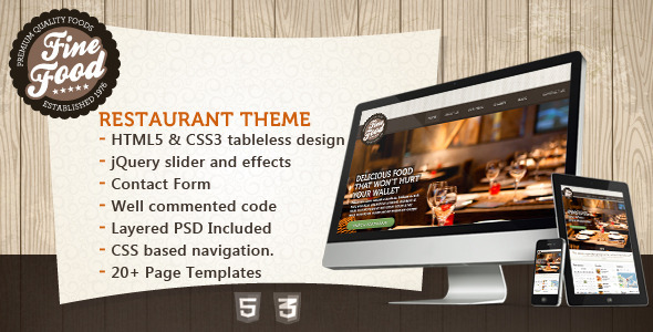 ThemeForest Fine Food Restaurant HTML5 Theme Site Templates Entertainment Restaurants & Cafes 3568317