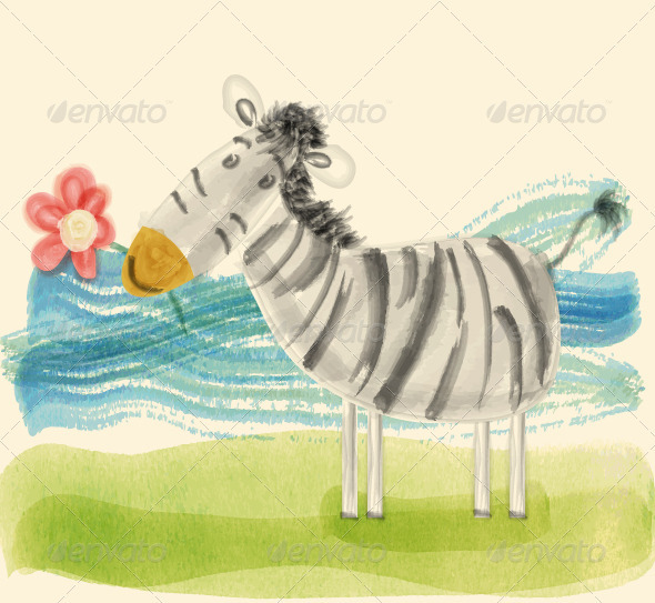 GraphicRiver Zebra with Flower 3578585