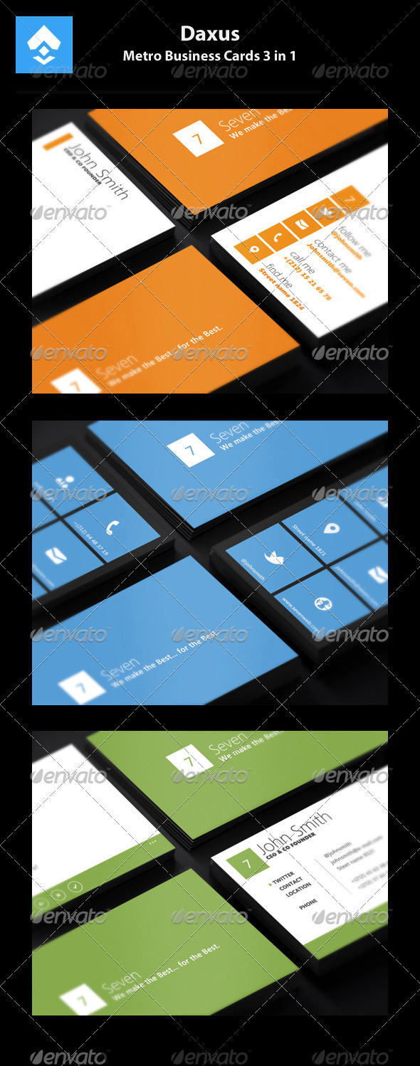 GraphicRiver Metro Business Cards 3 in 1 2941445
