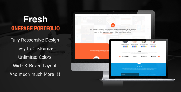 ThemeForest Fresh Portfolio Onepage Multipurpose Theme WordPress Creative Portfolio 3588484