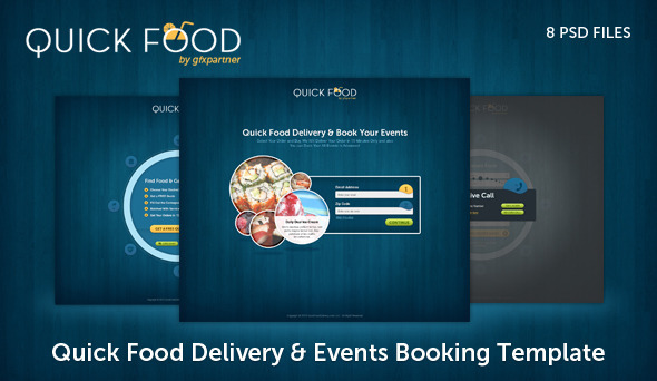ThemeForest Quick Food Delivery PSD Template PSD Templates Creative 3591650