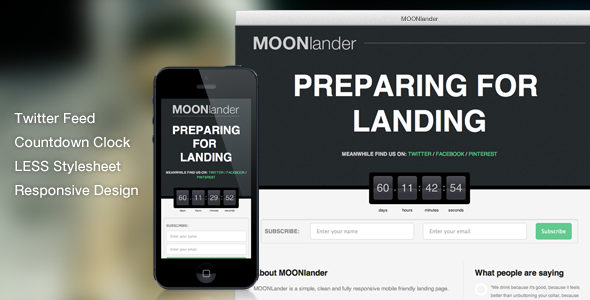 ThemeForest MOONlander Responsive Countdown Landing Page Site Templates Specialty Pages Under Construction 3502758