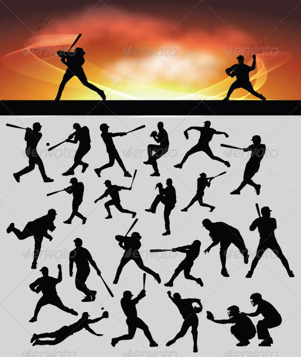 GraphicRiver Baseball Silhouette 3623044