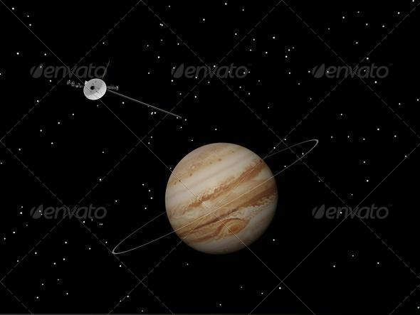 Voyager spacecraft near Jupiter and its unknown ring - 3D ...