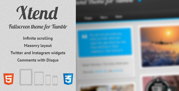 ThemeForest Xtend Fullscreen and Modern Theme for Tumblr Blogging Tumblr 3626619