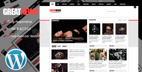ThemeForest Great News Responsive Wordpress Theme WordPress Blog / Magazine 3627325