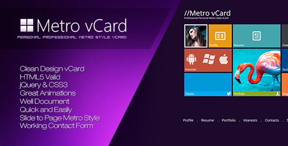 ThemeForest Metro vCard Professional Metro Style vCard Site Templates Personal Virtual Business Card 3615080