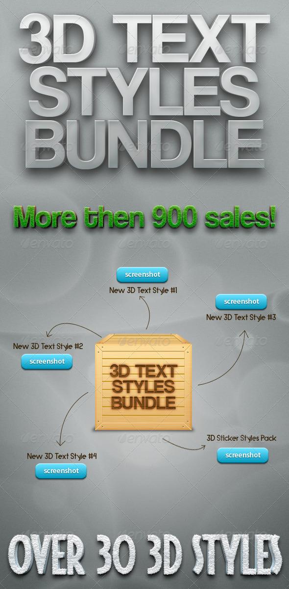GraphicRiver 3D Text Styles Bundle 389778