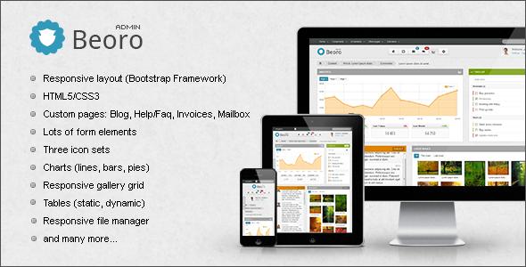 ThemeForest Beoro Admin Responsive Template Site Templates Admin Templates 3632296